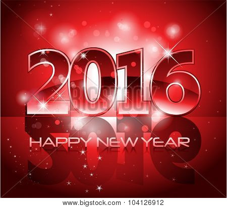 Red glossy 2016 happy new year background with sparkle lights and reflection