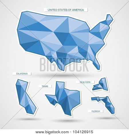Geometric blue united states of america map and states