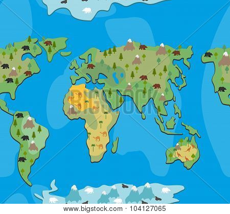 World Map With Animals And Trees Seamless Pattern. Background Geographic Atlas Of Flora And Fauna. E
