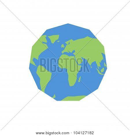 Polygonal World Map. Unusual Earth. Atlas Of World