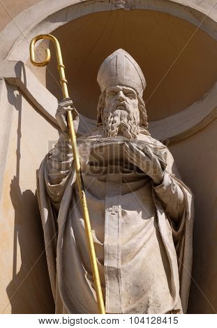 LJUBLJANA, SLOVENIA - JUNE 30: Saint Hermagoras on the facade of St Nicholas Cathedral in the capital city of Ljubljana, Slovenia on June 30, 2015