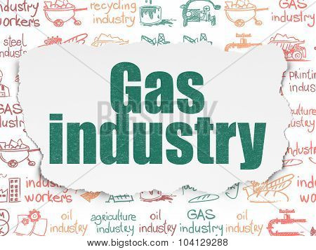 Manufacuring concept: Gas Industry on Torn Paper background