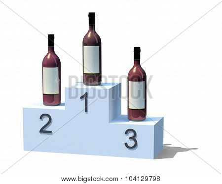 Bottles Of Red Wine On The Podium