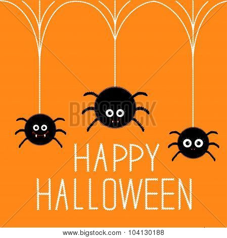 Three Cute Hanging Fluffy Spiders With Fang. Happy Halloween Card. Flat Design