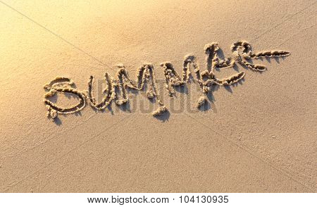 Summer word on sea beach
