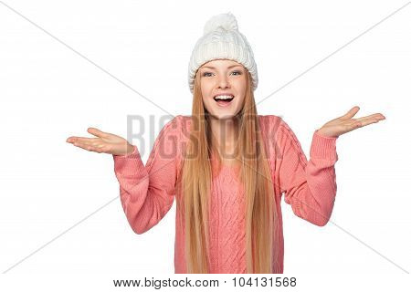 Excited surprised winter girl