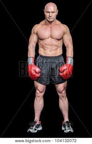 Full length portrait of musular boxer against black background
