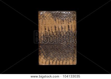 Passport Cover Of Snake Skin On A Black Background