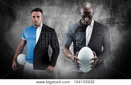 Thoughtful athlete looking at rugby ball against half a suit