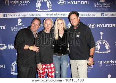 MOORPARK, CA - OCT 5: Scotty Medlock, Robbie Krieger, Cherie Currie & Robert Hays at the Annual Medlock/Krieger Invitational Golf Concert at the Moorepark Country Club, Moorpark, CA on October 5, 2015