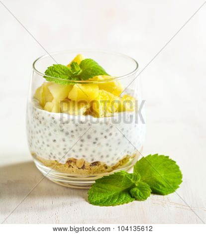 Chia Seed Pudding With Caramelized Apple And Crushed Grain Cookies.