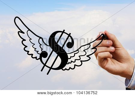 Businessman hand drawing dollar flying sign on sky background