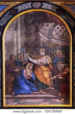 LJUBLJANA, SLOVENIA - JUNE 30: The Presentation of Jesus in the Temple, altarpiece in the Franciscan Church of the Annunciation on Preseren Square in Ljubljana, Slovenia on June 30, 2015