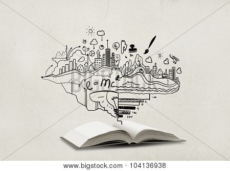 Opened book with business sketches over white background