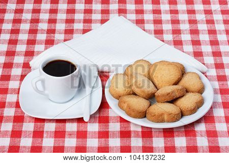 Coffee, Cookies, Heart, Tablecloth