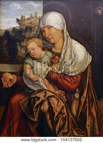 ZAGREB, CROATIA - DECEMBER 08: Jorg Breu: Madonna with the Child, Old Masters Collection, Croatian Academy of Sciences, December 08, 2014 in Zagreb, Croatia