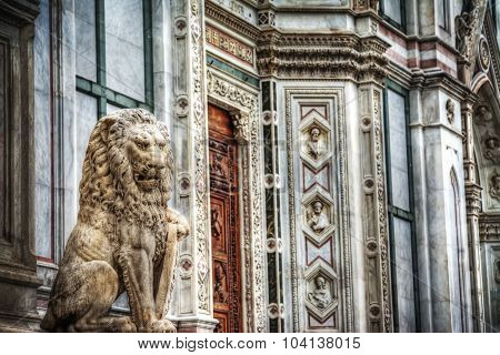 Sculpture Of A Lion In Santa Croce Square In Florence