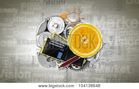 Conceptual image with business items and fresh fruits