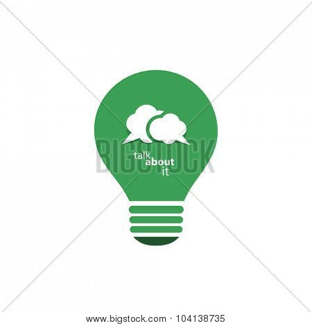 Green Eco Energy Concept Icon - Talk About Sustainable Development - Speech Bubble Inside a Shiny Bright Lightbulb - Vector Clip-Art Template