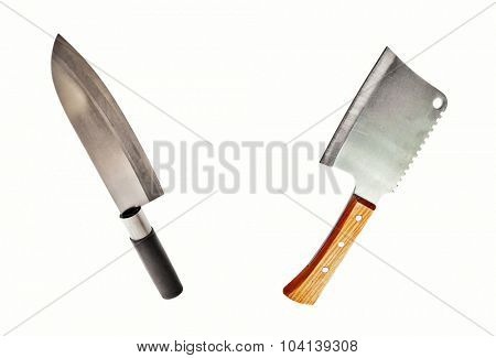 meat cleaver and asian knife isolated on white background