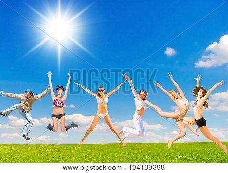 Happy Friends on a Meadow