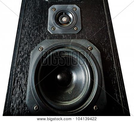 The black hi-fi sound speakers. View from bottom