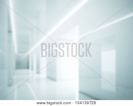 White interior in modern office. Lights and space. Blur. 3d render