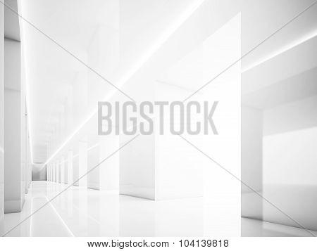 White interior in modern gallery. Lights. 3d render