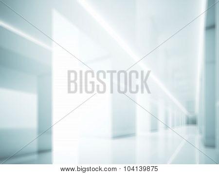 White interior in modern gallery. Lights and blur. 3d render