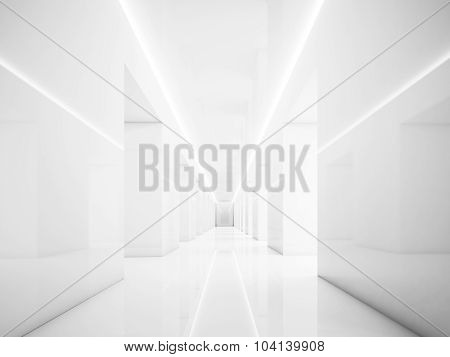 White hallway in empty interior. Lights and space. 3d render