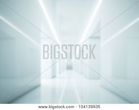 Hallway in white interior. Lights and space. 3d render