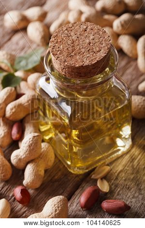 Natural Peanut Oil In A Glass Jar Macro. Vertical