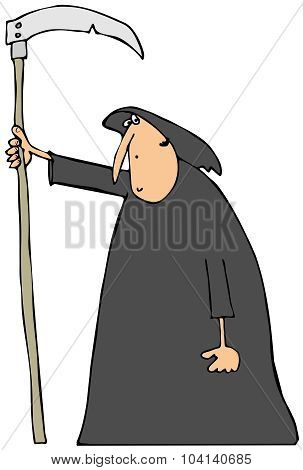 Hooded man carrying a scythe