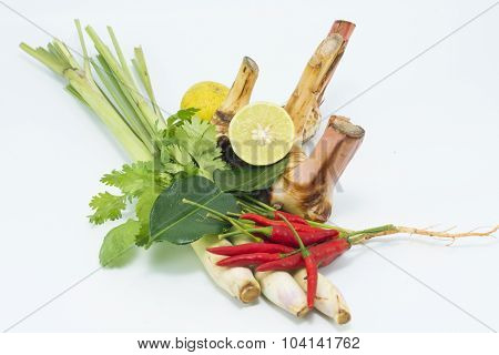 lemongrass lime leaves chilli lemon Fresh herbs and spices asian ingredients food isolate on the whi