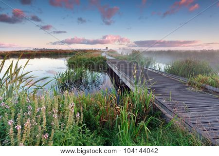 Woodem Bike Path On Lake Water At Sunrise