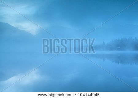 Foggy Morning On Mountaim Lake