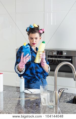 Woman Choosing Cleaning Detergent