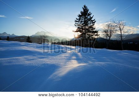 Winter Sunset In Alps