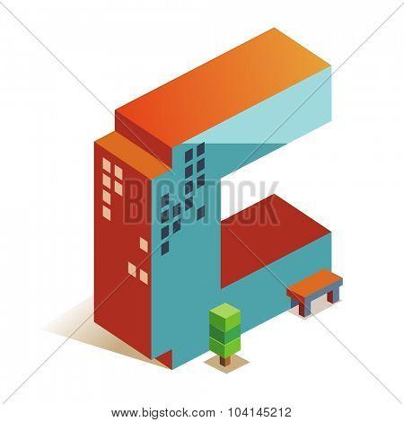 Charlie latin alphabet letter in skyscraper shape