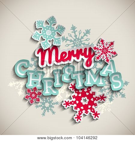 Red and blue decorative text Merry Christmas on beige background, illustration