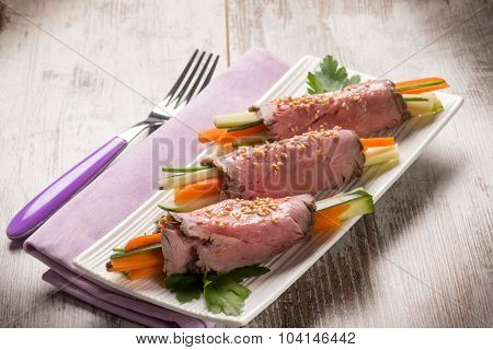 roast beef rolled up vegetable stuffed