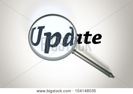 An image of a magnifying glass and the word update
