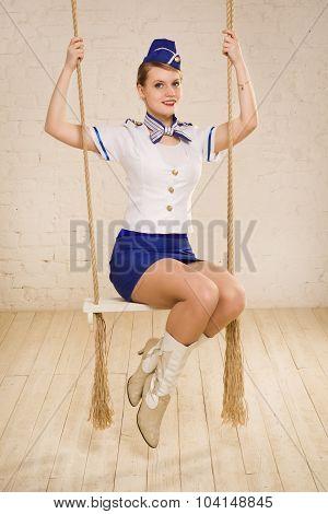 Girl In Stewardess Uniform