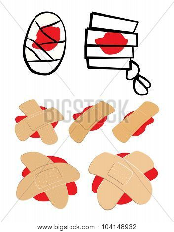 Set Of Adhesive  Plaster And Bandage With Red  Blood Puddle. Medical Equipment In Different Shapes.