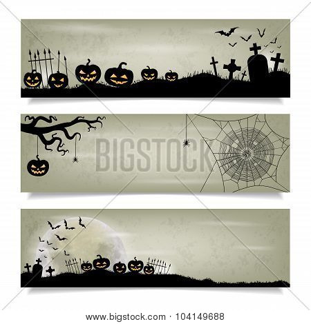 Set Of Horizontal Banners With Happy Halloween Background