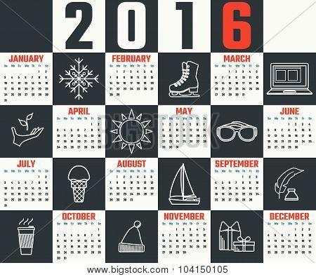 Calendar template 2016