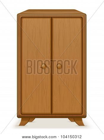 Old Retro Wooden Furniture Wardrobe Vector Illustration