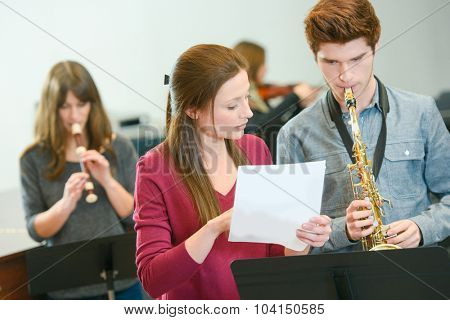 Music teacher at work