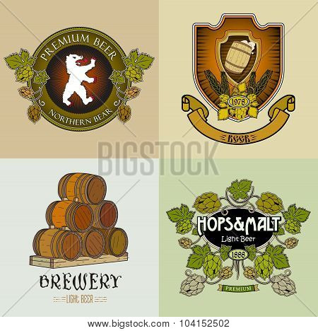 Retro craft brewery logos, labels and stickers.