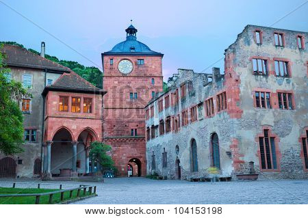 Square of Schloss Heidelberg during evening time